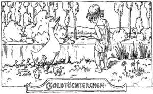 Illustration Goldtöchterchen zum Märchen von Volkmann-Leander