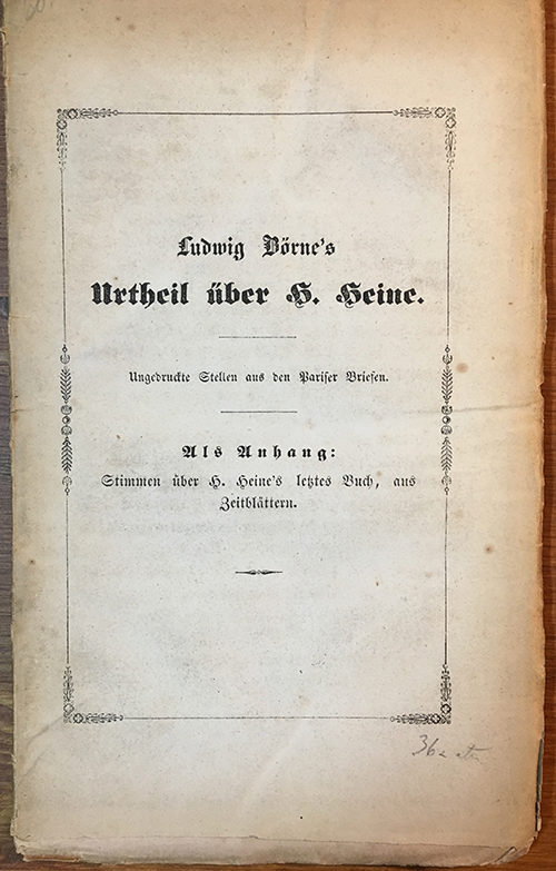 Erstausgabe von Urtheil über H. Heine von Ludwig Börne